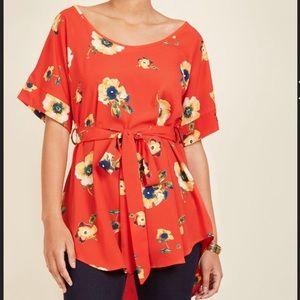 ModCloth Memory Tunic in Red Blossoms